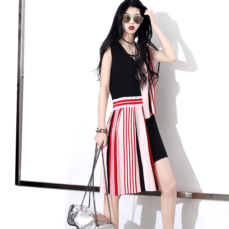 [TWOTWINSTYLE] 2016 Spring Giant Strewn At Random Stripe Splicing Knitting Dress Women Super FashionОдежда и ак�е��уары<br><br><br>Aliexpress
