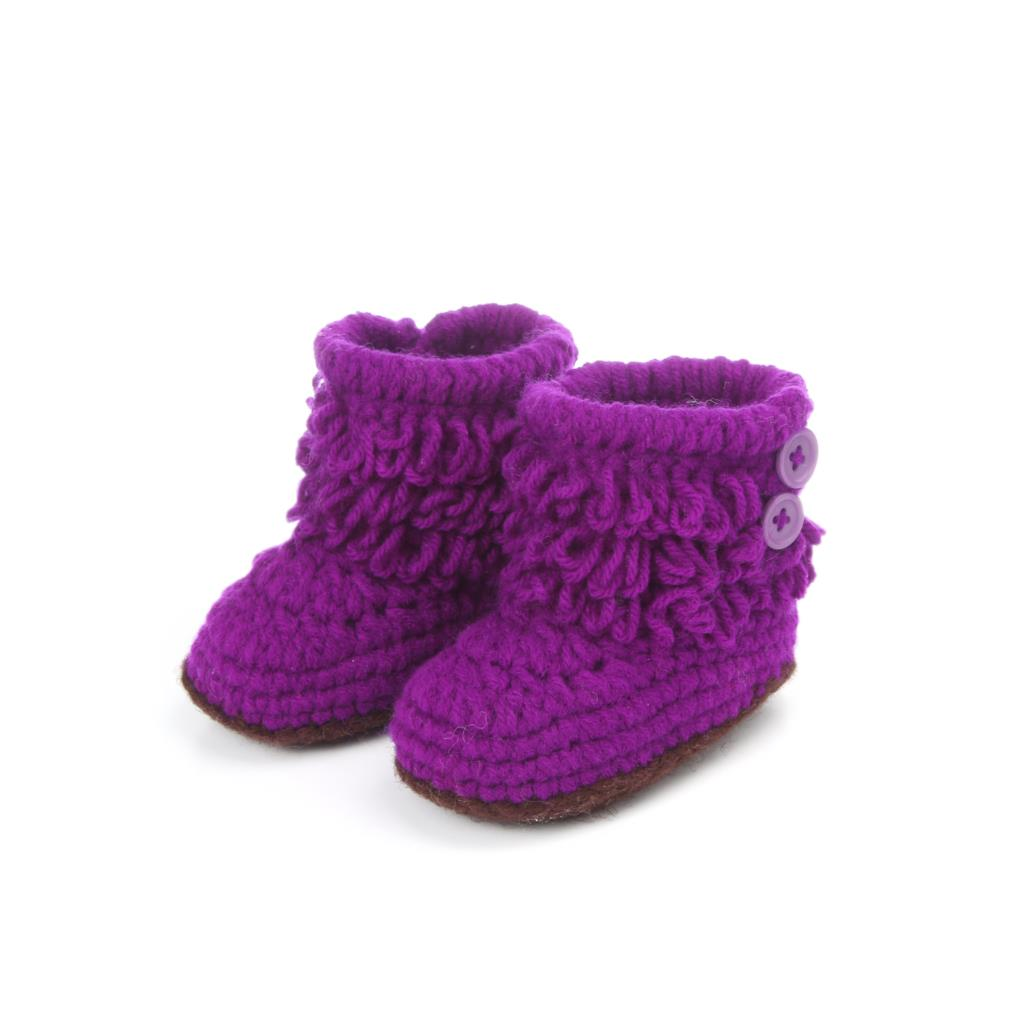 Baby Knitted Crib Shoes With Fringes Cute Soft Crochet Boots Toddler Prewalker Infant Cotton Soft Purple Beige Blue Pink Red