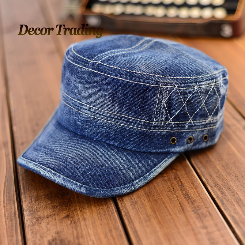 Stylish 2015 Fashion Flat Top Jeans Military Hat For Men Women Cadet Patrol Bush Hat Denim ...