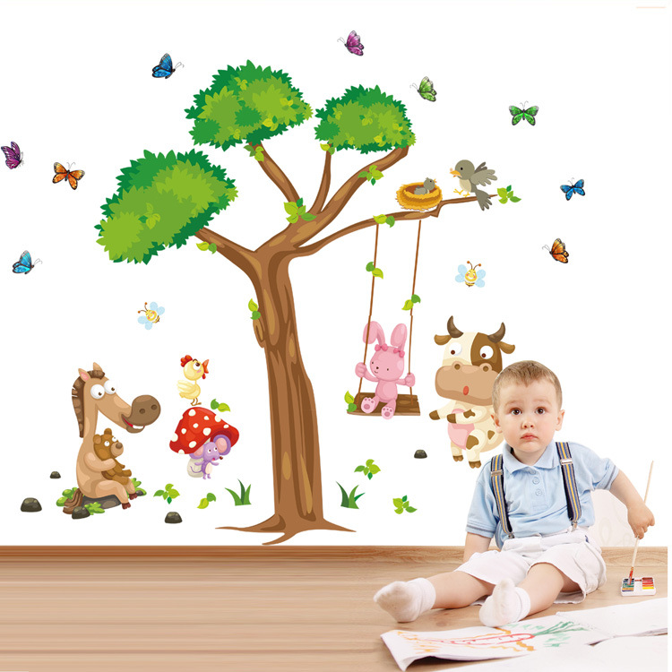 Large wall sofa bedroom animal wall decoration stickers stickers of cartoon children on a swing ABC1006AB(China (Mainland))