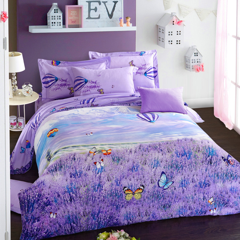 Online get cheap lavender bedspreads for Housse de couette king size