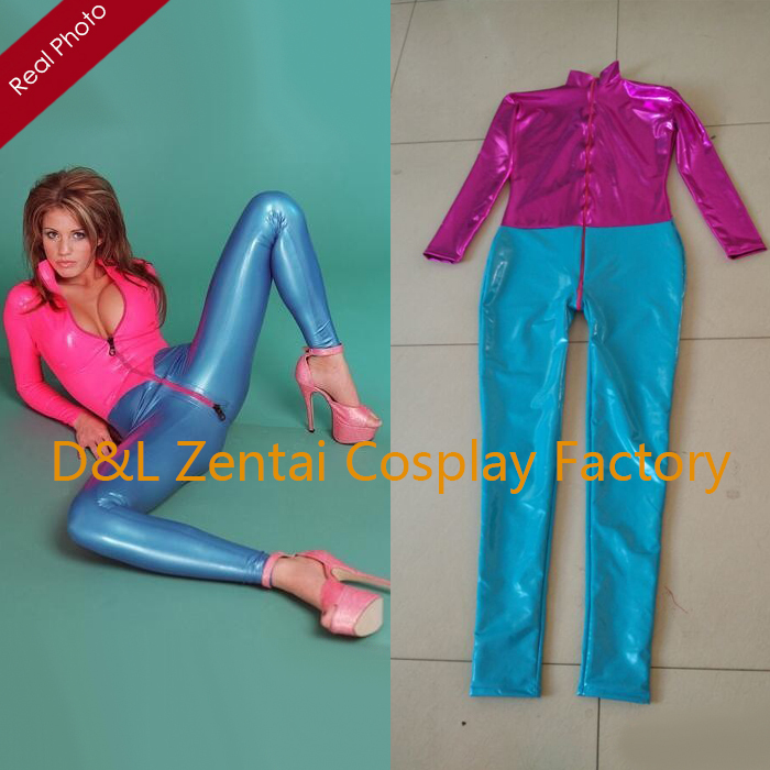 Free Shipping DHL Custom Made New Arrival Sexy Pink and Blue PVC Zentai Catsuit Fancy Dress Zentai Suit For Halloween PartyОдежда и ак�е��уары<br><br><br>Aliexpress