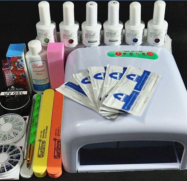 Nail Art Manicure Tools 36W UV Lamp + 4 Color 15ml Soak Off Gel Nail Base Gel Top Coat Polish with Remover Practice Set File kit(China (Mainland))
