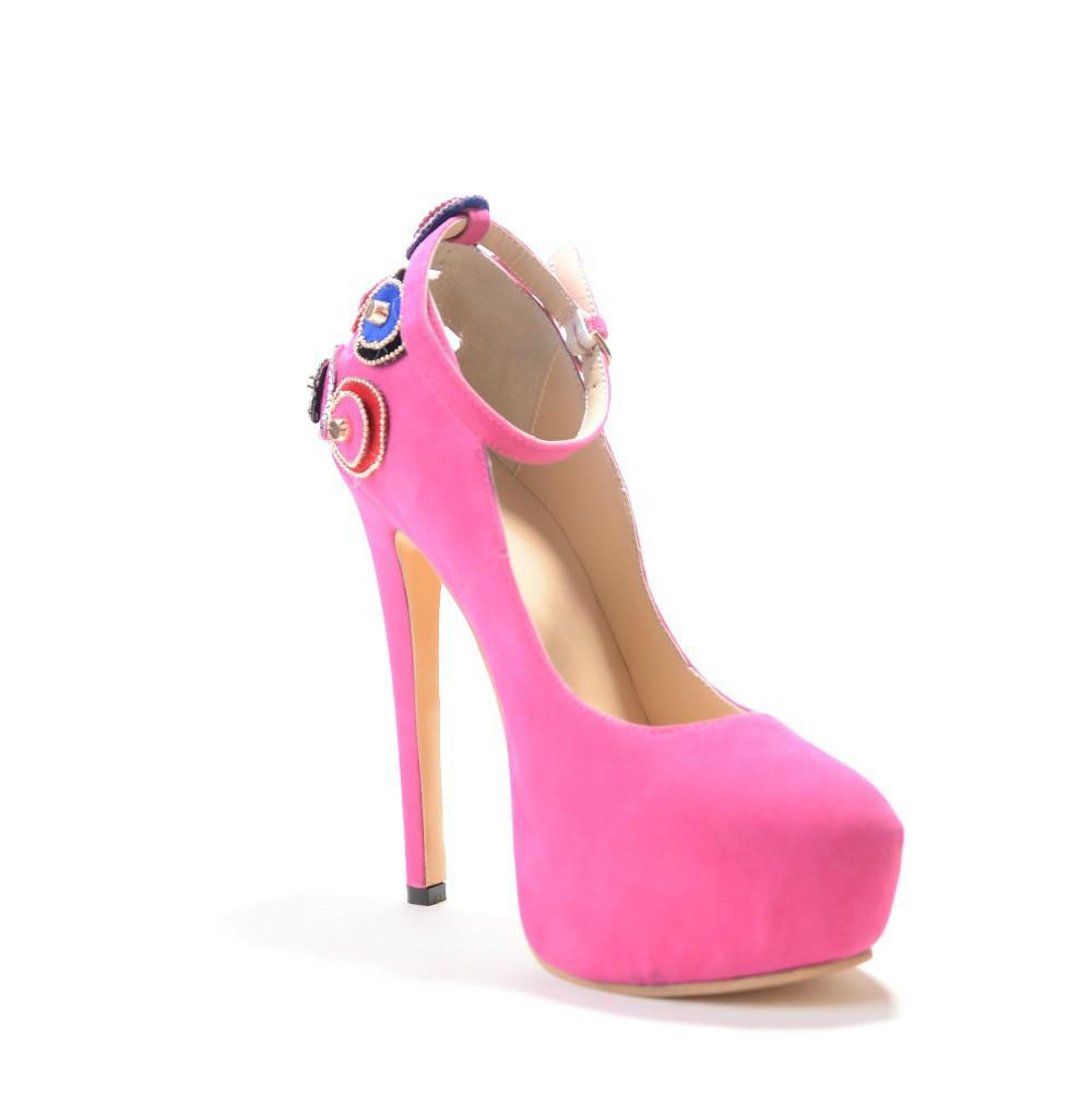 2016 ultra high heels shoes ankle strap women pumps big size platform chaussure femme dress shoe rhinestone pink evening shoes