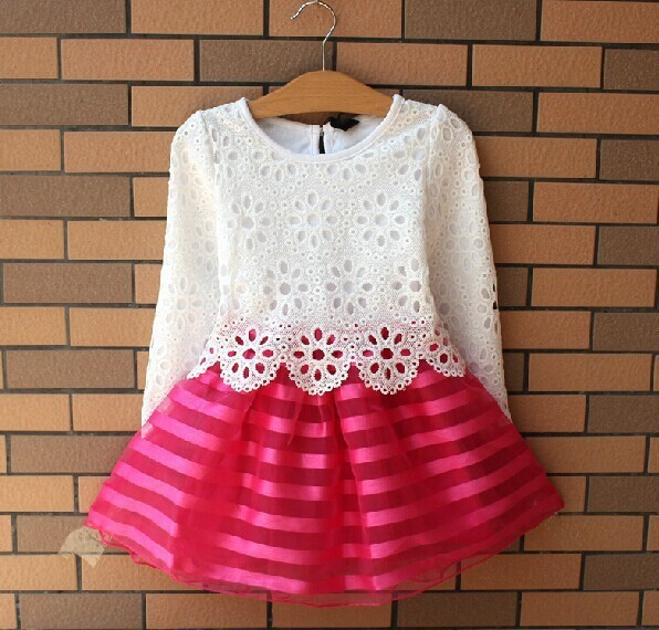 Hot Sale!2015 Summer Girl Dress Children Girls's Clothing Set Spring Long Sleeve Party Striped White Pink Princess Dress(China (Mainland))