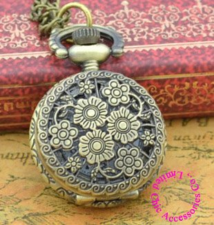 Coupon buyer price good quality retro nice vintage woman new bronze mini flower pocket watch necklace chain - Chic Watches store
