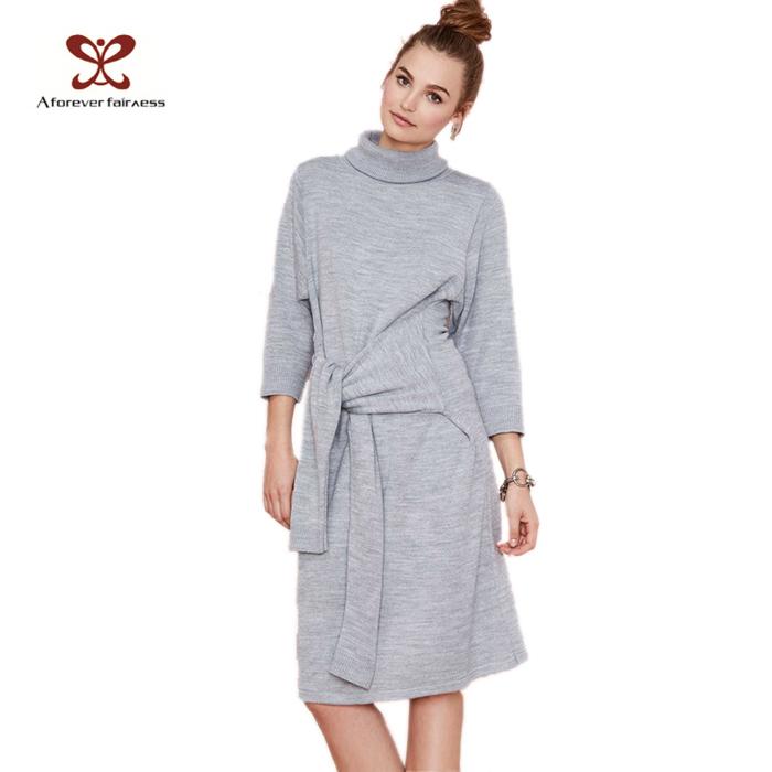 Здесь можно купить  New Arrivel Women Turtleneck Long Sleeve Kintted Sweater Knot Me Casual Sweater Dress Winter Autumn Fashion 2014  Одежда и аксессуары