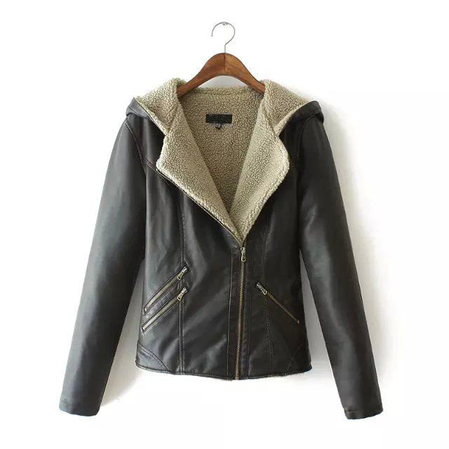 A551 новинка женская элегантный винтаж твердые искусственной кожи куртка женщин свободного покроя тонкий черный кожаный пиджак зимнее пальто