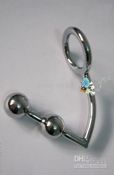 Wholesale - Newest stainless steel anal hook/two bead anal plug toys/male chastity/chastity devices/Sex toys