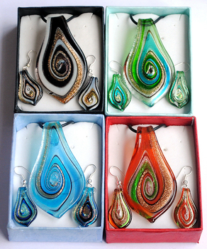 Fashion summer jewelry set  Gift Box Packing, 4Colors Gold Dust in Circinate Murano Lampwork Glass Jewelry Sets