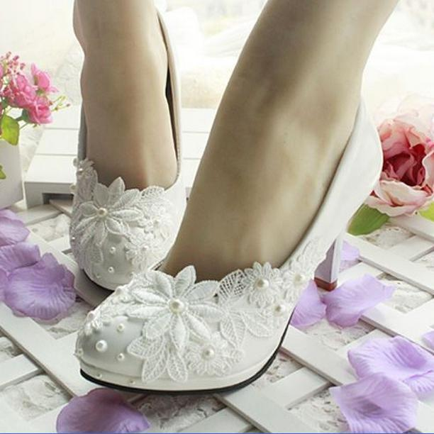 3CM/4.5CM/8.5CM 2015 womens spring and summer wedding shoes white lace pearl wedding shoes bride bridesmaid shoes zapatos mujer<br><br>Aliexpress