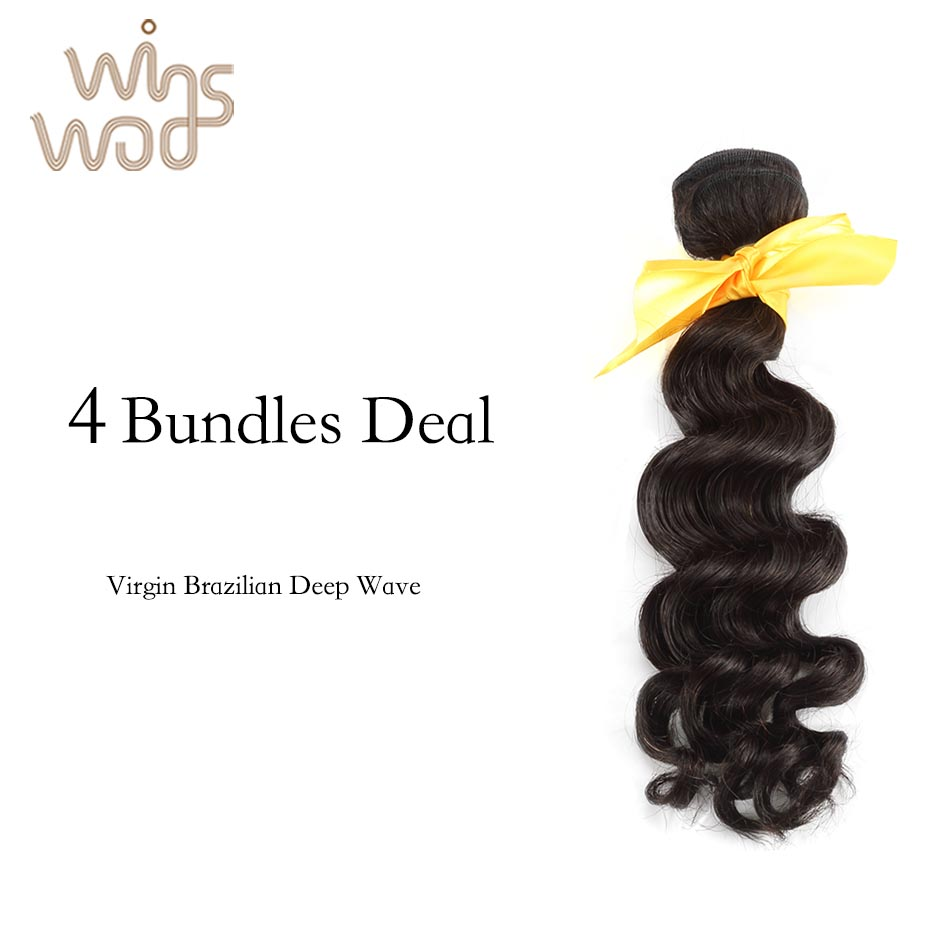8A Brazilian Deep Wave Virgin Hair Weave 4 Pcs Lot Mixed Length Brazilian Virgin Hair Tight Curl, Free Shipping