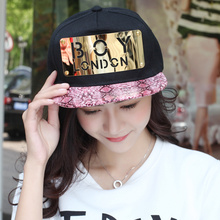 Tfboys hat boy letter baseball cap metal tablets hiphop cap snakeskin flat along the cap spring and summer(China (Mainland))