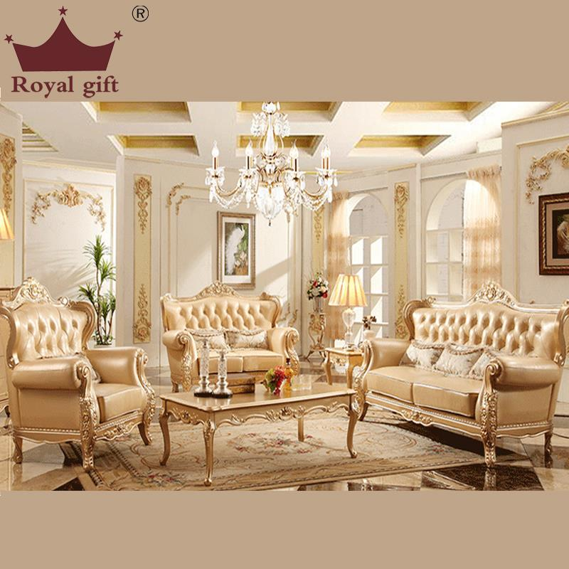 The New Champagne Wood Sofa combination of high-quality Leather Sofa living room furniture(China (Mainland))
