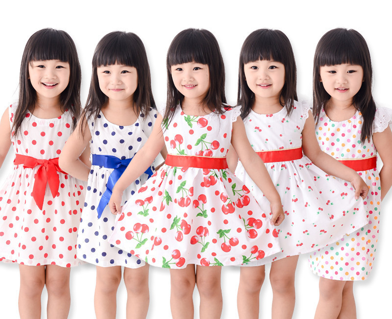 2015 New Girls Dress Fashion Bow Cherry Point Print Cotton Party Pageant Casual Baby Kids Clothing Size 2-10(China (Mainland))
