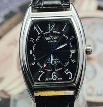Ganador rectangular calendario negro matriz totalmente automáticas del reloj mecánico para hombre reloj para hombre vintage j153