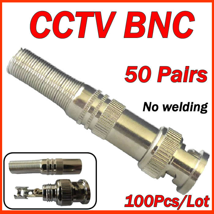 Free Shipping 100pcs/lot BNC Male Video Plug Coupler Connector to screw for RG59<br><br>Aliexpress