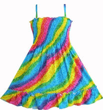 Girls Dress Rainbow Smocked Halter Children Clothing SZ 2-10 NWT(China (Mainland))