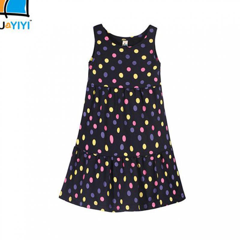New Kids Dress Summer Style Girls Casual Dresses A line Cotton Baby Girls Dresses Dot Print Children Dress Designer Kids Clothes(China (Mainland))