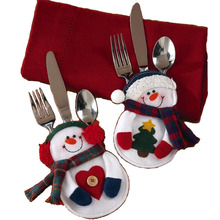 8Pcs Christmas Decorations snowman Silverware Holders   Christmas ornaments for tables new year Home Decor(China (Mainland))