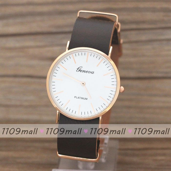 100pcs/lot Geneva simple design Leather strap Women Girl Dress round dial Watch man casual quartz analog Wristwatches(China (Mainland))