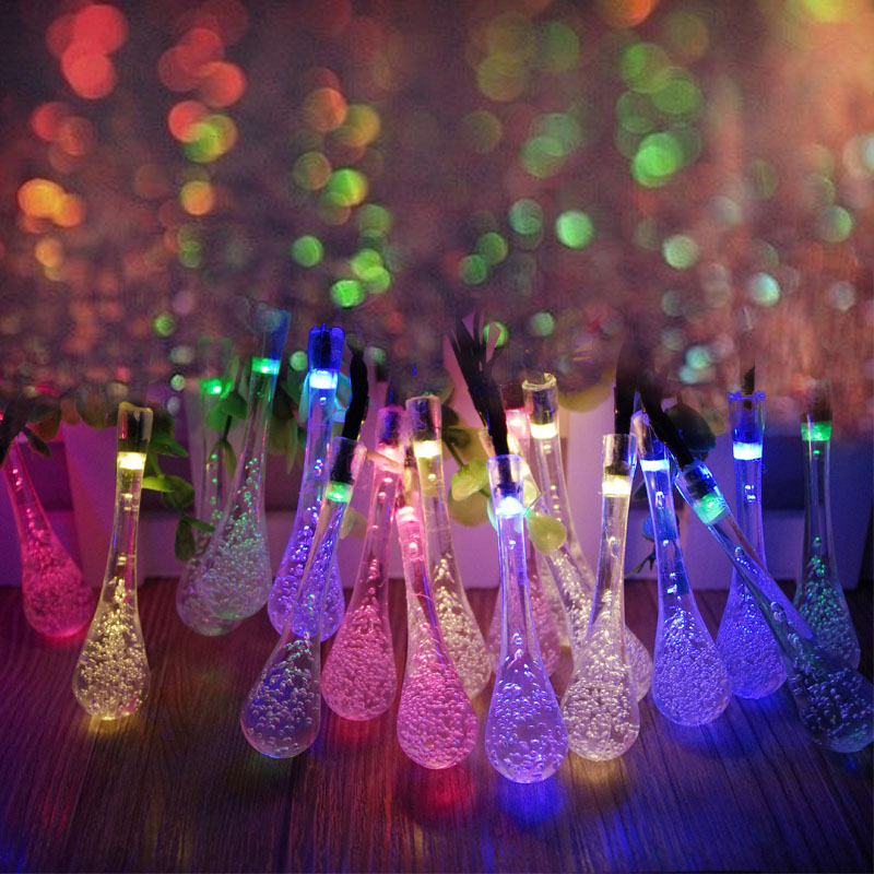 4.8M 20LED Solar Powered Water Drop String Lights LED Fairy Light for Wedding Christmas Party Festival Outdoor Indoor Decoration