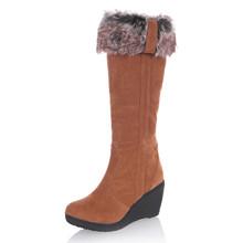 2016 nueva moda de Piel de invierno zapatos de tacón alto rodilla botas de mujer botas de nieve caliente zapatos de las mujeres cuñas de la manera(China (Mainland))