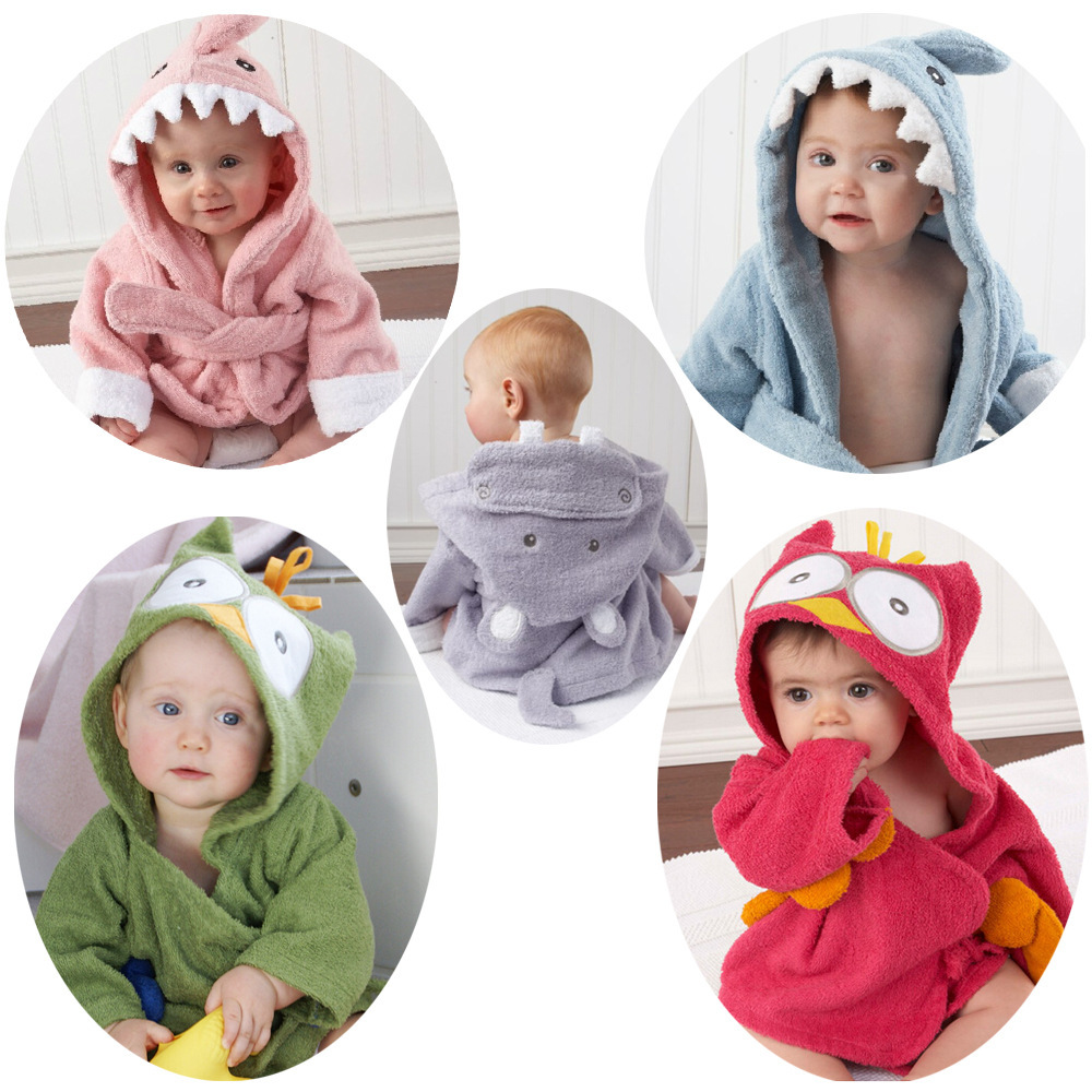 2015 New Cartoon Thicken Hooded Baby Towel Infant Bath Robe Baby Bathrobe Bath Towel Kid's Bath Towel(China (Mainland))