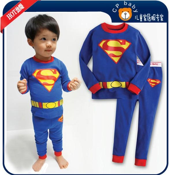 6sets/lot Children's Long Sleeve Cartoon Spider-Man Pajamas Baby Girl Boys Sleepwear Kids plain blue pyjamas clothes sets XC-014(China (Mainland))