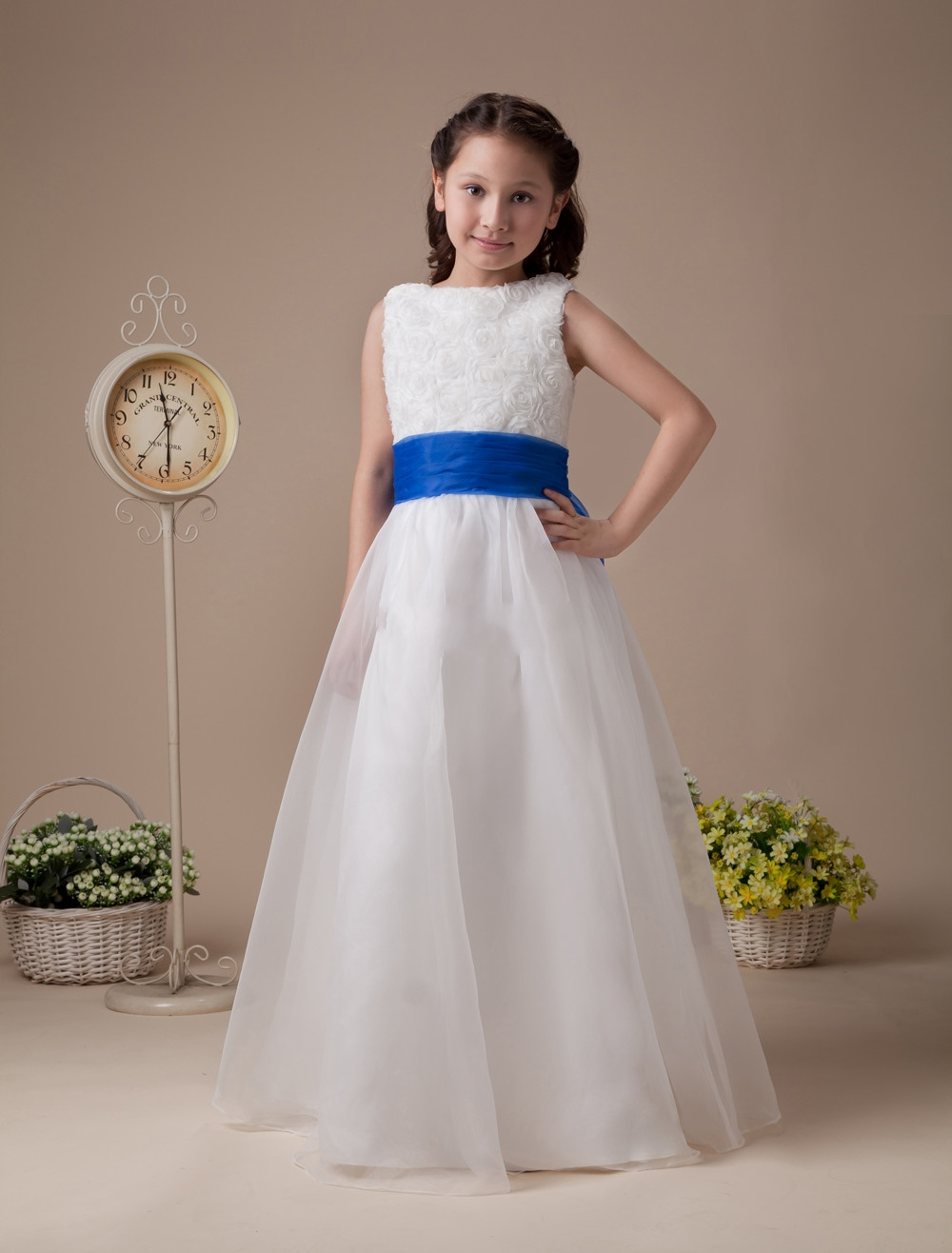 Blue and white flower girl dresses for weddings organza for Dresses for girls wedding