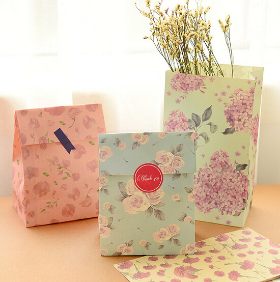 24pcs gift bag birthday party stationery gifts favors wedding casamento store package packing flower floral zakka packaging bags(China (Mainland))