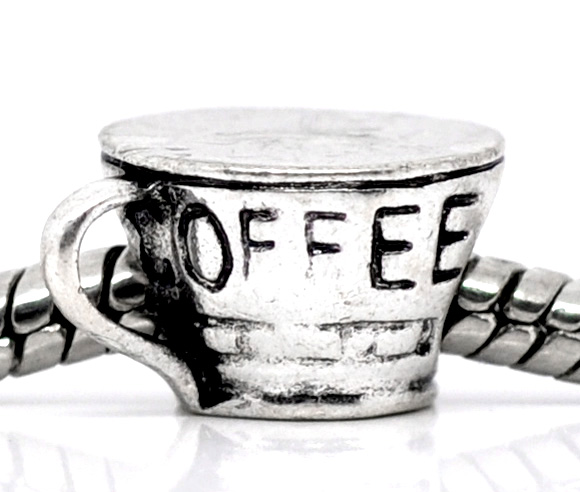 DoreenBeads antique silver Coffee Cup Charm Beads Fit European Charm 14x8mm,20PCs, 2015 new(China (Mainland))