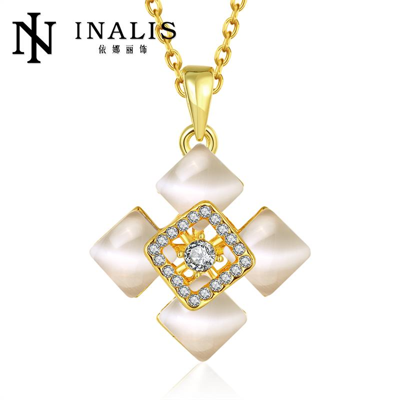 Classic 18K/Rose Gold/Platinum Plated White Square Pendants Necklaces Women Chain Antiallergic Necklace(China (Mainland))