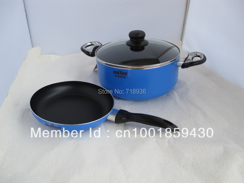 New Jeetee 2 piece pot and pan set Ceramic Nonstick Cookware Set Blue EMS free shipping(China (Mainland))