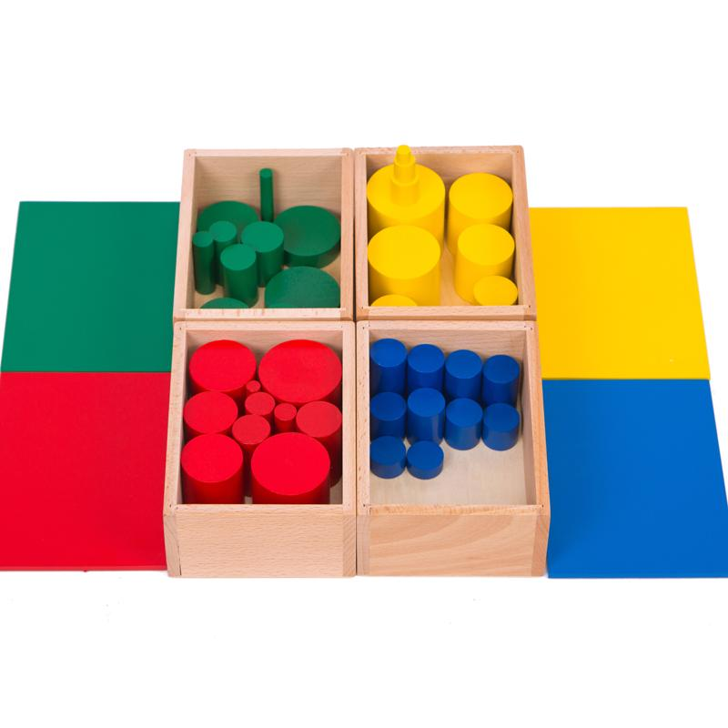Фотография Montessori Professional Multicolour Cylinder Teaching Blocks Wooden Toys Cylindrical Baby Educational Early Learning Gift
