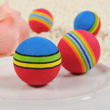 Funny Pet Toy Baby Dog Cat Toys 3.5CM Rainbow Colorful Play Balls For Pets Products