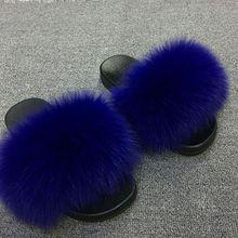 El 2019 de las mujeres peludas zapatillas señoras lindo zorro de peluche pelo zapatillas de Piel de mujer, zapatillas de invierno cálido zapatillas para las mujeres caliente(China)