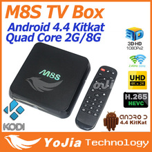 Original M8S Amlogic S812 Quad Core TV Box KODI H.265 HEVC Android 4.4 Dual Wifi 2G/8G BT 4.0 Pre-installed Famous APK & ADD-ONS