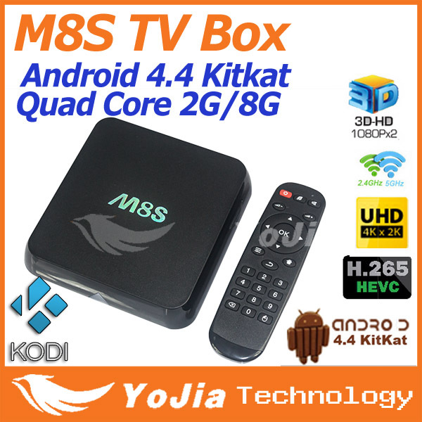 product Original M8S Amlogic S812 Quad Core TV Box KODI H.265 HEVC Android 4.4 Dual Wifi 2G/8G BT 4.0 Pre-installed Famous APK & ADD-ONS