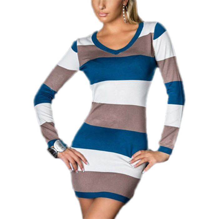 Stylish 2015 Fashion Women Bold Color Stripes V-neck Bodycon Dress Clubwear female sexy mini vestidos(China (Mainland))