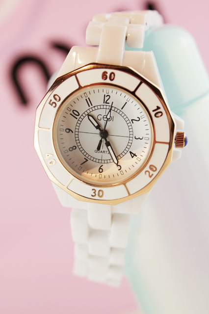 Small watches ceramic table white ladies watch women's watch fashion lovers watch rhinestone