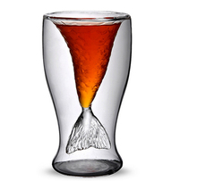 Clear 100ml Mermaid Shape Double Glass Wall Beer Wine Whisky Beer Cup&Mug for Bar Party Wedding Decoration