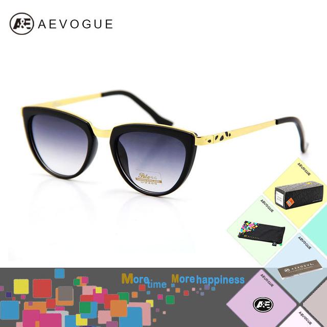 Aevogue Cat в глаз с чехол солнечные очки женщины леопардовый рука прозрачный линзы солнцезащитные очки 5 цветов AE0062