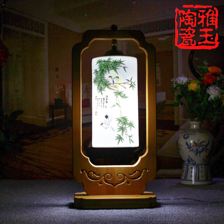 Chinese Style Classical LED E27 Desk Light For Living Room Bedroom Ceramic Lampshade Table Lamp(China (Mainland))