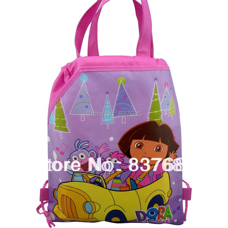 1Pcs Dora the explorer 3 printing bag School Bags Handbags Cartoon Drawstring Bag ,shopping bag ,party favor,mochila(China (Mainland))