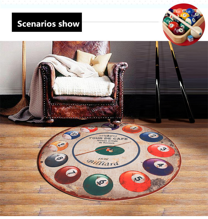 160CM Diameter Round Billiards Doormat Rugs And Carpets For Living Room And  Bedroom Hallway Area Rug Computer Chair Floor Mat   Us854