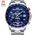 Men s fashion quartz watch waterproof luminous steel wrist chronograph watch simple fashion male table Blue
