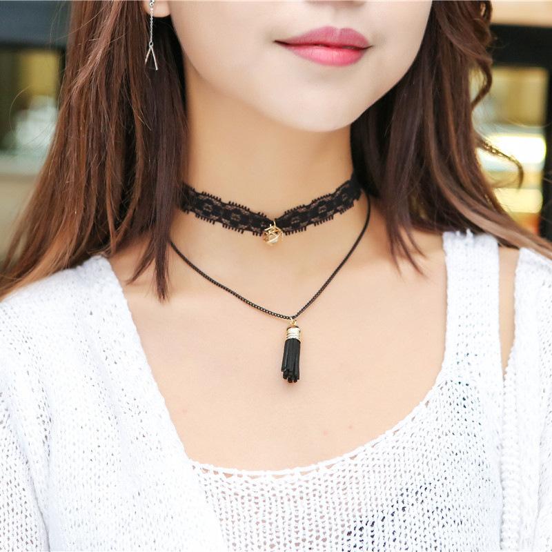 Fashion Cute Black Tassel Pendant Women Choker Necklace Jewelry Luxury Lace Neck Chokers Cross Moon Collar Necklace(China (Mainland))