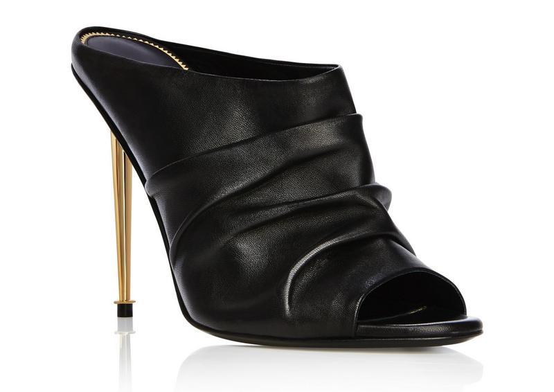 Booty Ruched Leather High Heels Mule Metallic Heels Women Sandals Black Peep Toe Pumps Flip Flops Summer Style Shoes Woman