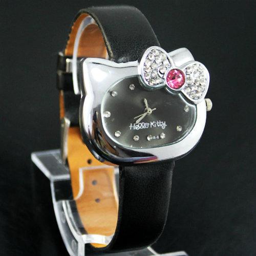 1 PCS Black Lovely Fashion Hello Kitty Ladies Women's Girls Students Crystal Quartz Wrist Watches, Free & Drop Shipping, K20-BK(China (Mainland))